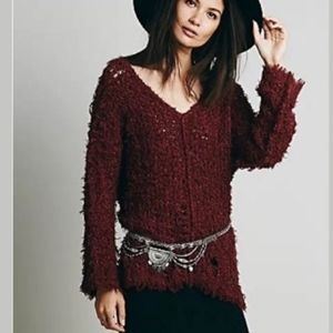 Free People Up The Ladder Maroon Distress Sweater
